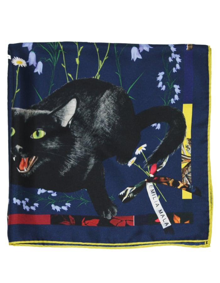 Image of CAT SAUVAGE / MIDNIGHT Silk Scarf