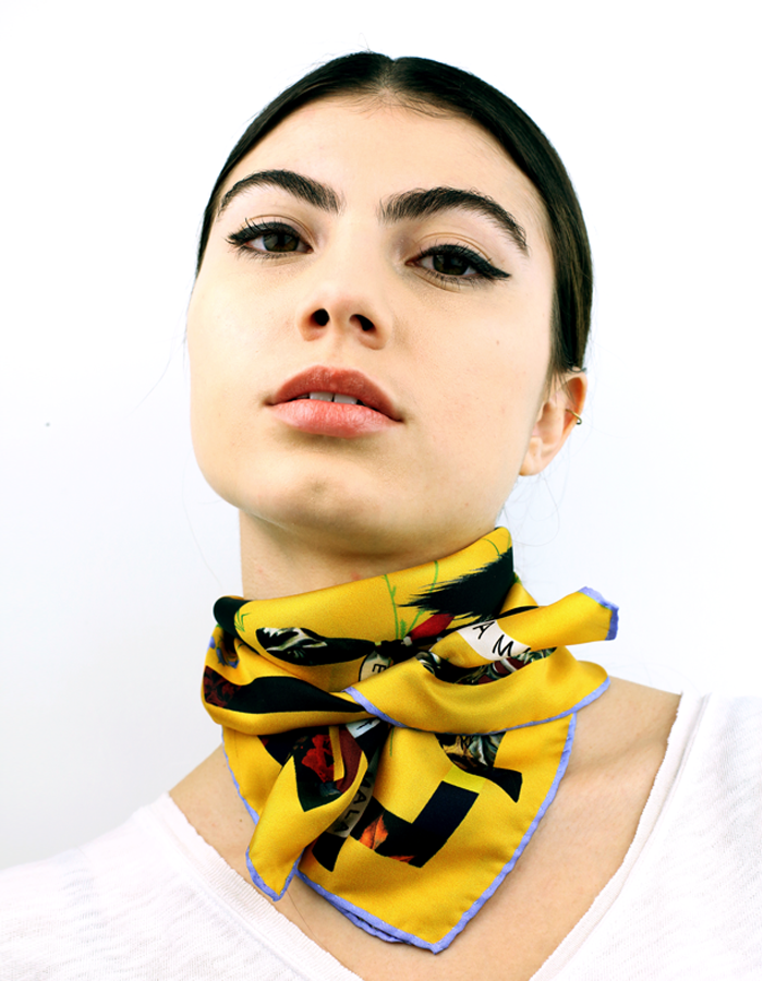 Image of Cat Sauvage Silk Scarf / Sun