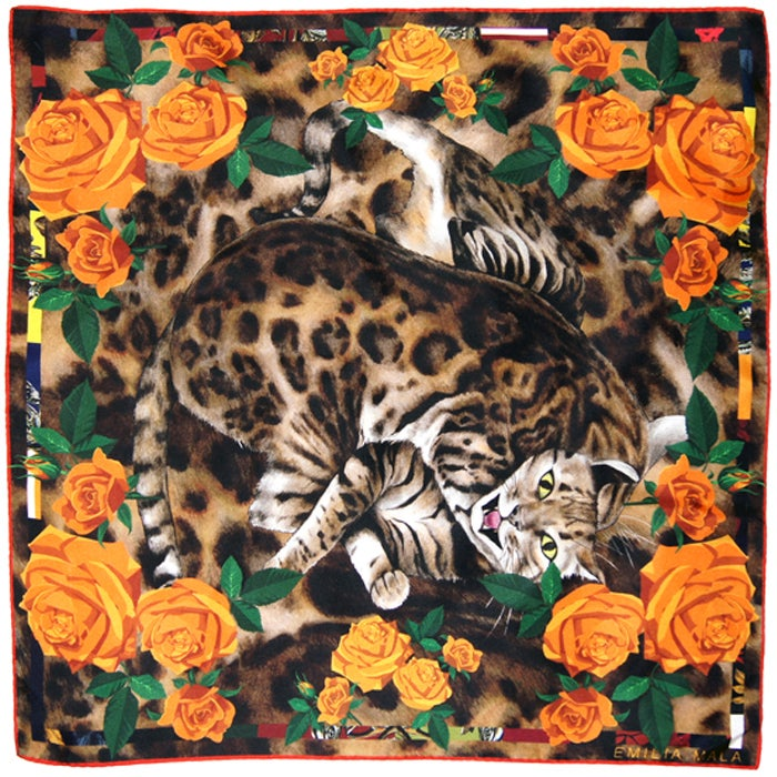 Image of BENGAL ROSE / ORANGE Silk Scarf