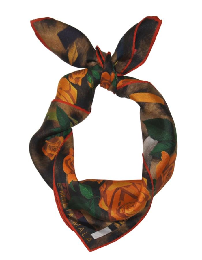 Image of BENGAL ROSE / ORANGE Silk Scarf