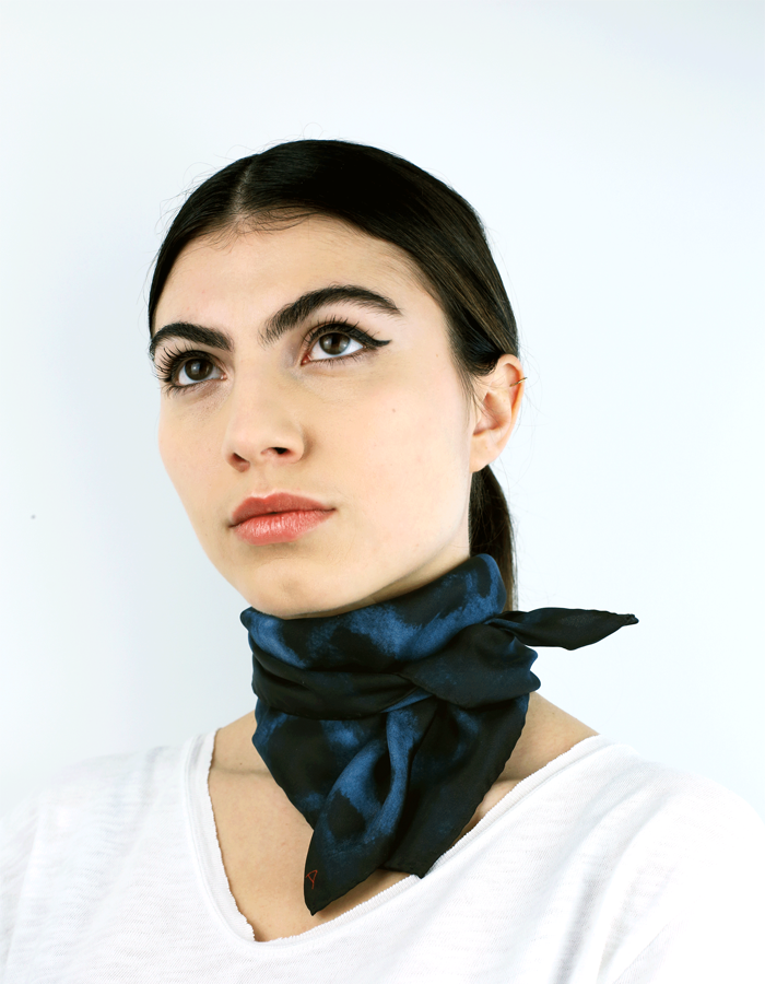 Image of Grand Bengal Silk Scarf / Midnight