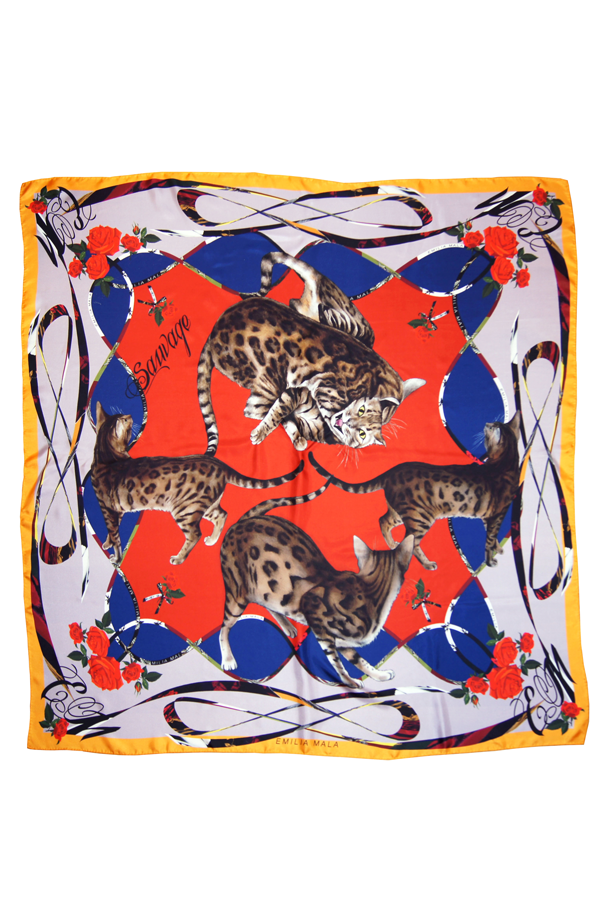 Image of Bengal Malicieuse Silk Scarf / Red