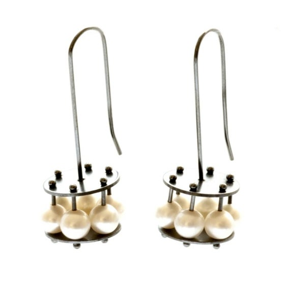 Image of Oxidized Sterling and Pearl Cage Earrings