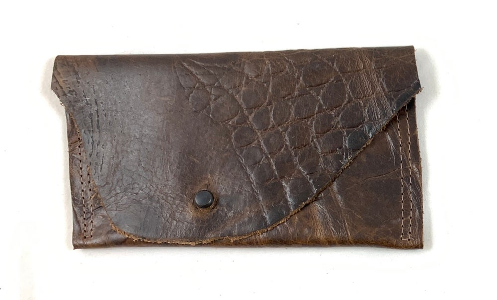 Image of pouch (brown embossed croc)