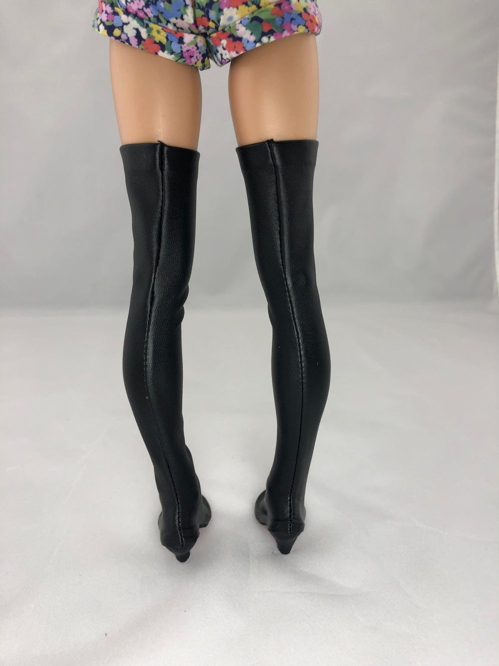 Black Leather Thigh High Boots Red Soles: Minifee