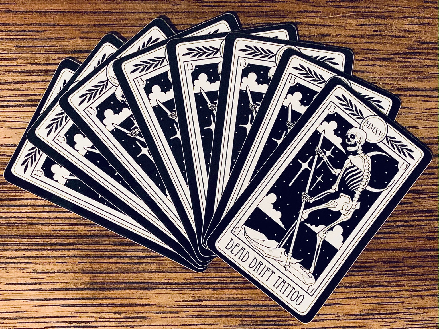 Image of Dead Drift Tattoo Tarot Card Sticker
