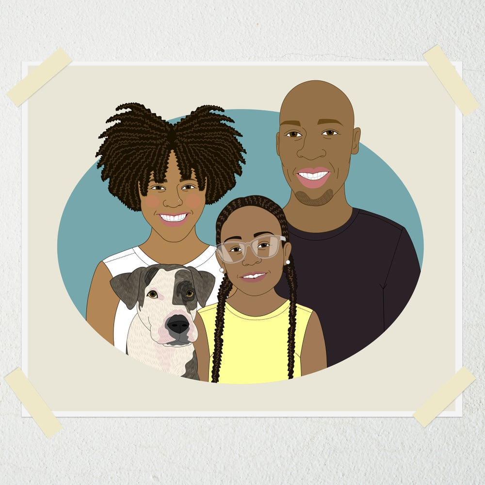 Image of Custom Family Portrait of 3 people and a pet.