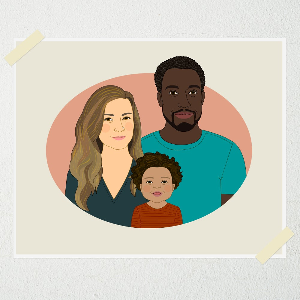 Image of Family portrait of 3 people.