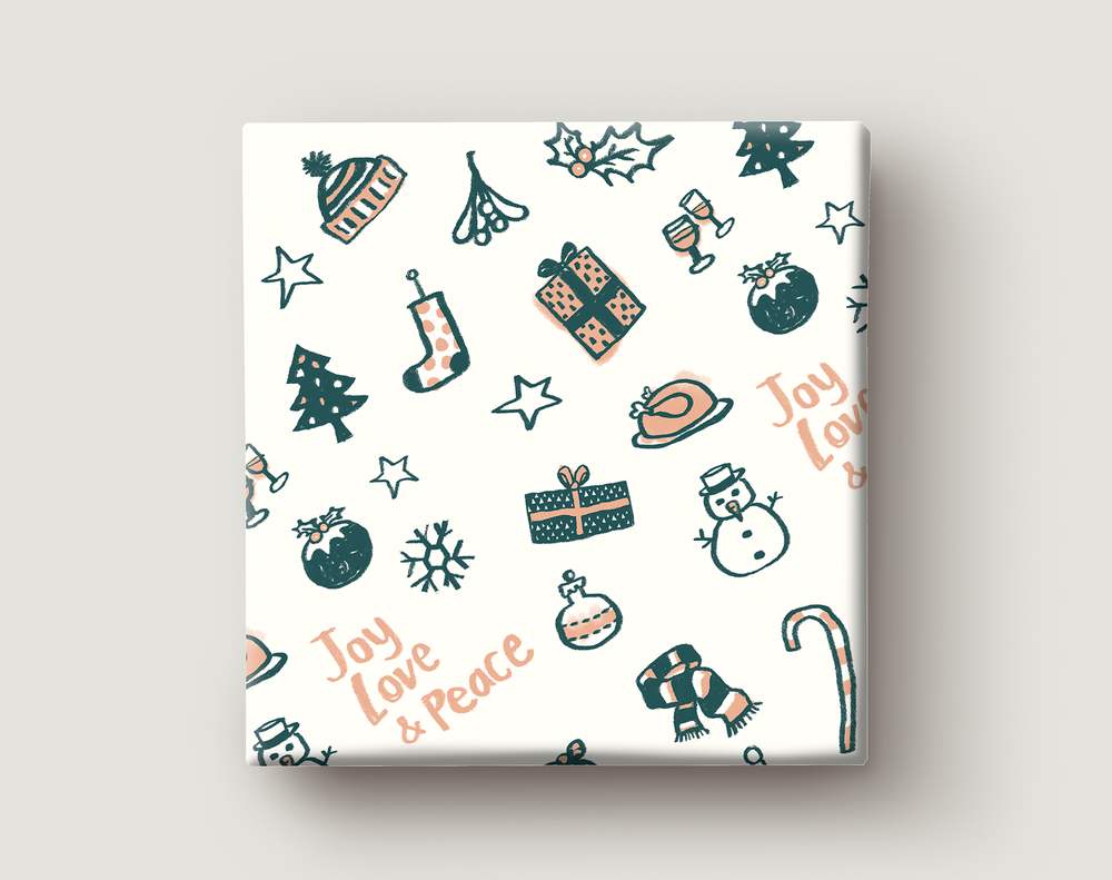 Image of Gift Wrapping Paper / CHRISTMAS GIFTS / Pattern of little Christmas Presents / Merry Christmas Gift