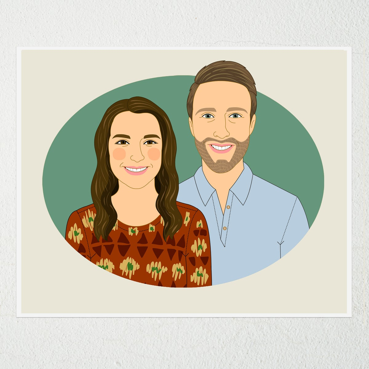 Image of Couple's Portrait from photo. 2 people.