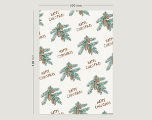 Image of Gift Wrapping Paper / FIR CONES / Fir Tree and Cones Pattern / Merry Christmas Gift Wrapping Paper /