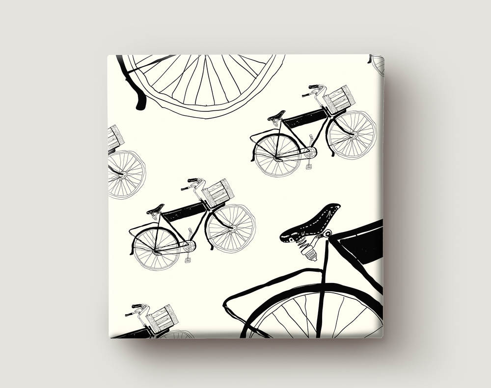 Image of Gift Wrapping Paper / BIKE / Black Bikes Pattern / Road Bike with Basket Illustration Wrapping Paper