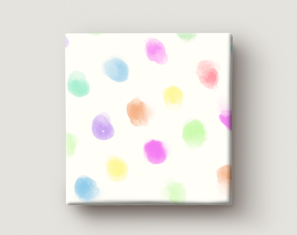 Image of Gift Wrapping Paper / DOTS OF COLOURS / Pattern of colourful watercolour dots Present Paper