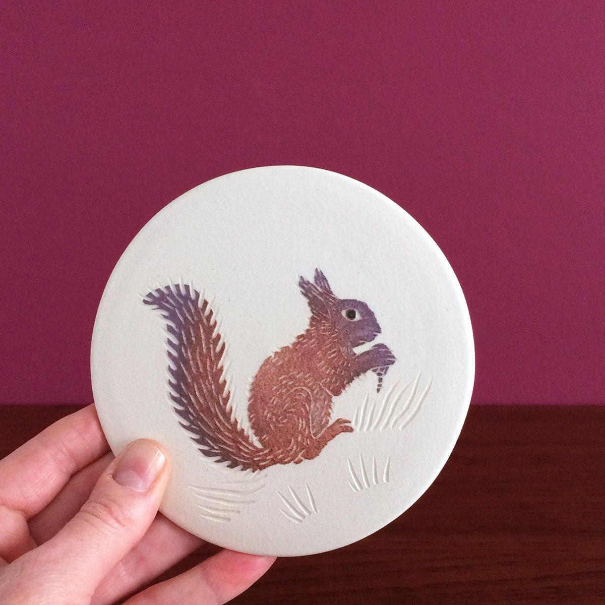 Woodland squirrel ceramic wall hanging