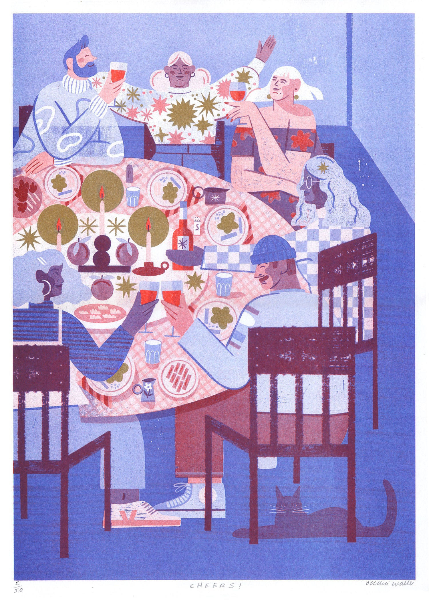 Image of Cheers riso print