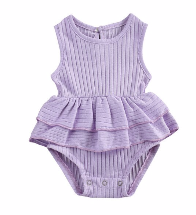 Ribbed Sleeveless Ruffle Romper