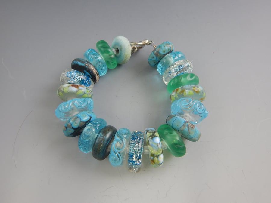 Image of Artisan Glass • Aqua Glass Bracelet