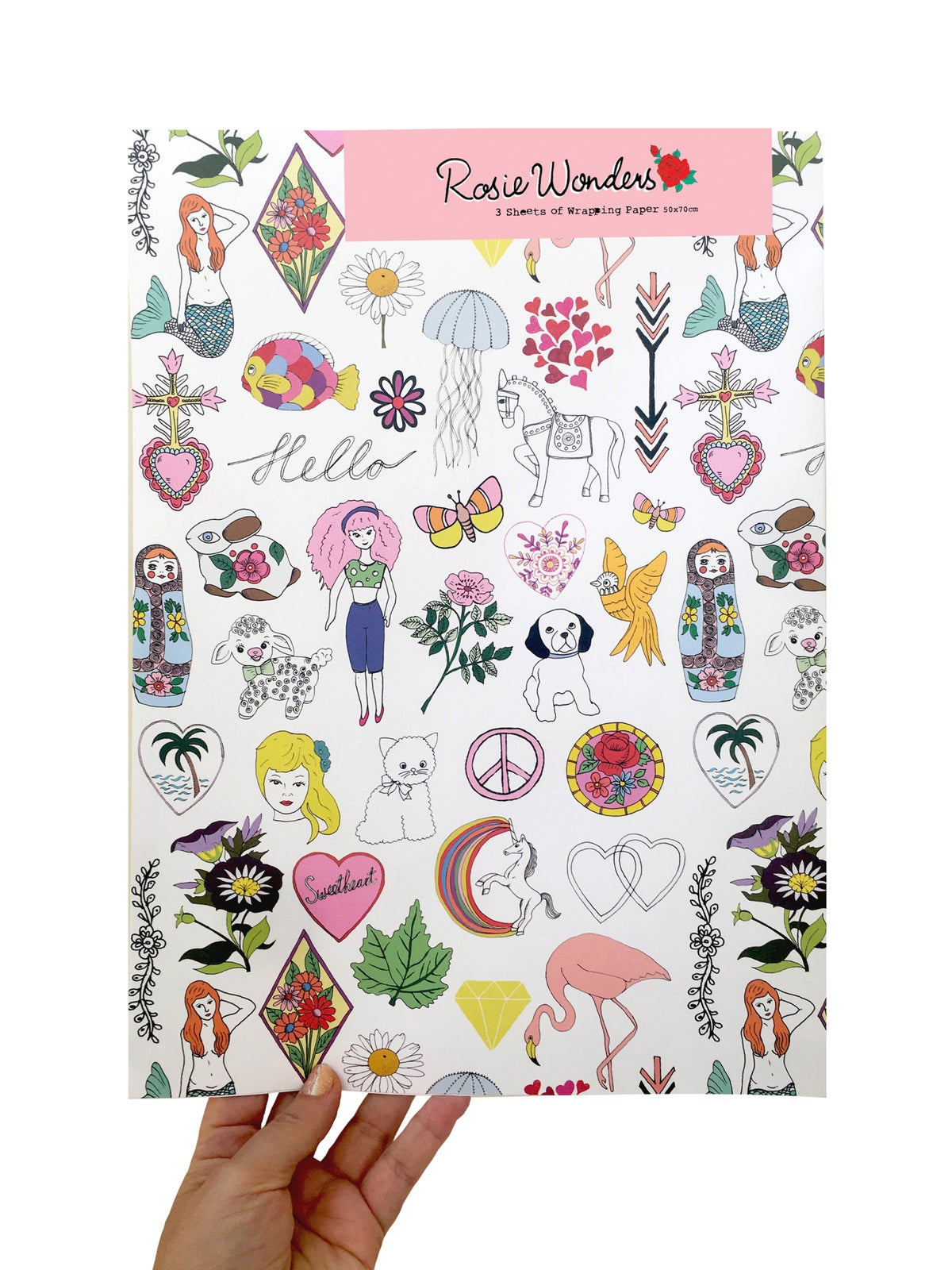 Rosie Wonders Hello Girls Wrapping Paper