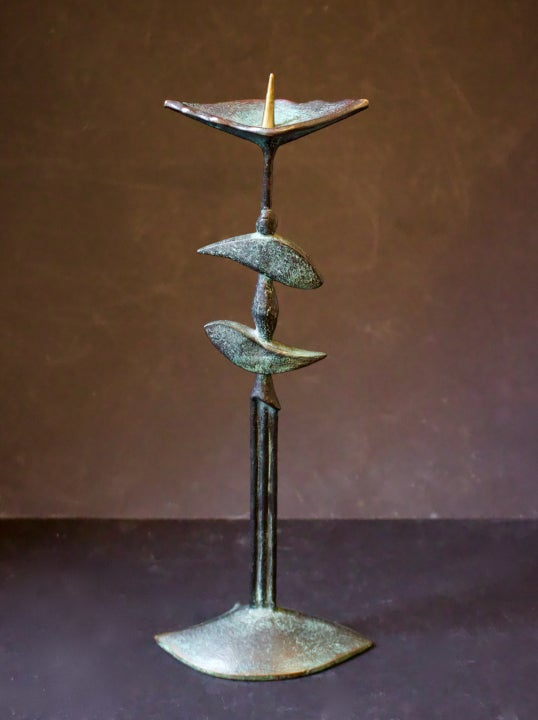 Image of Candlestick in Patinated Bronze