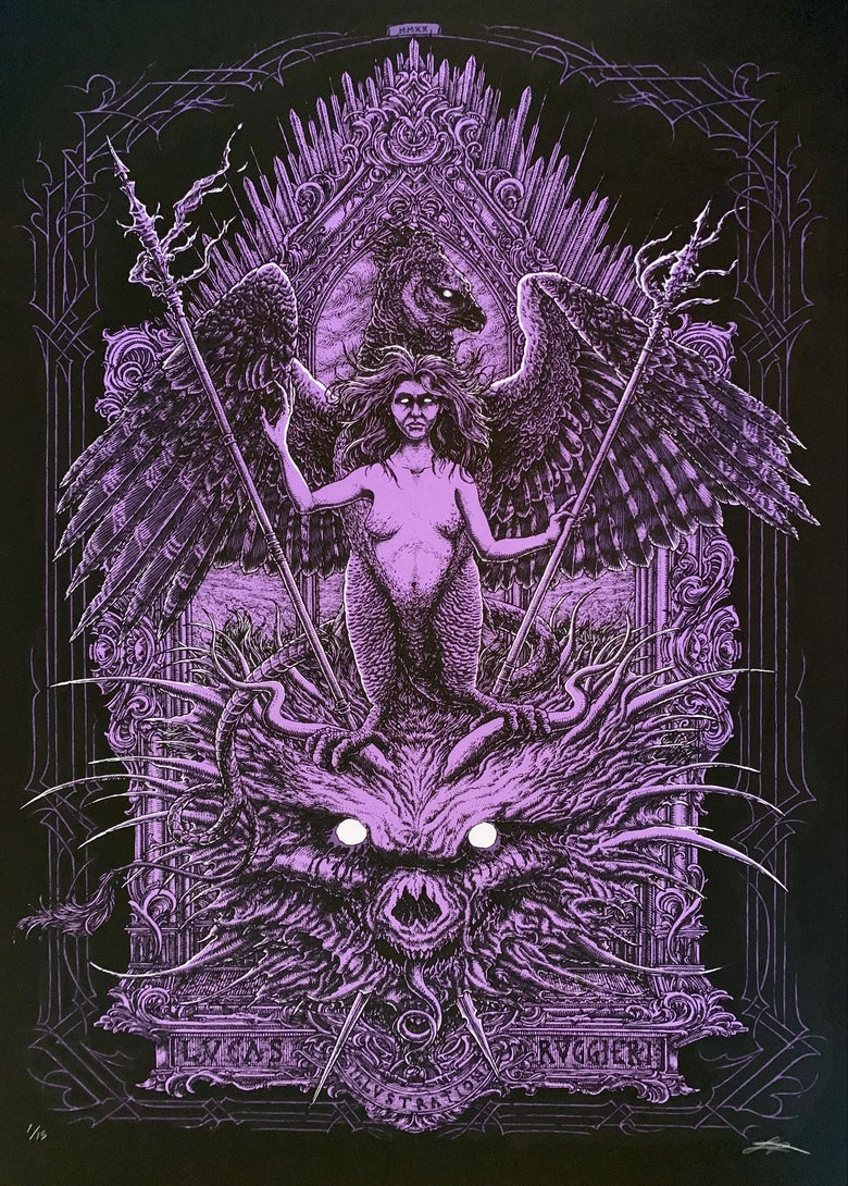 """Image of """"THE HARPY"""" screen print - purple/white variant."""