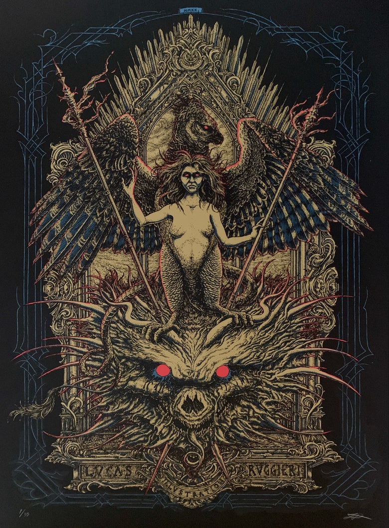 """Image of """"THE HARPY"""" screen print"""