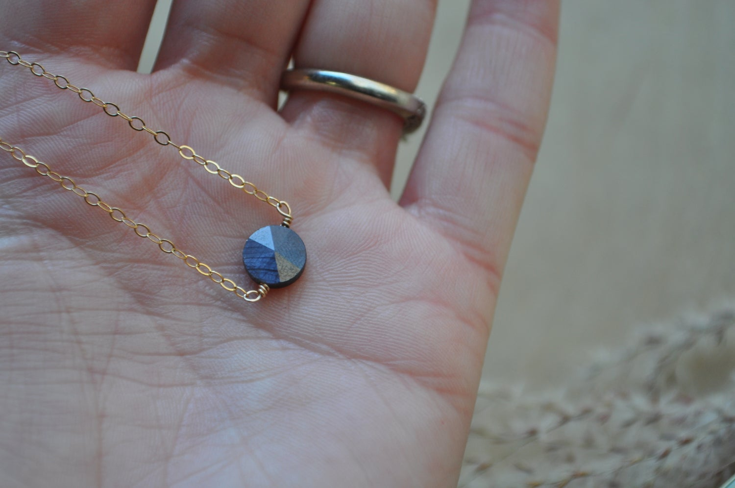 Image of Gray Sapphire Circle Necklace - in Gold Fill