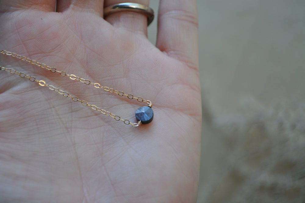 Image of Gray Sapphire Circle Necklace - in Gold Fill (16 inch)