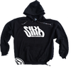 SIKA Records Black hooded sweater with white or black print + camo draw string