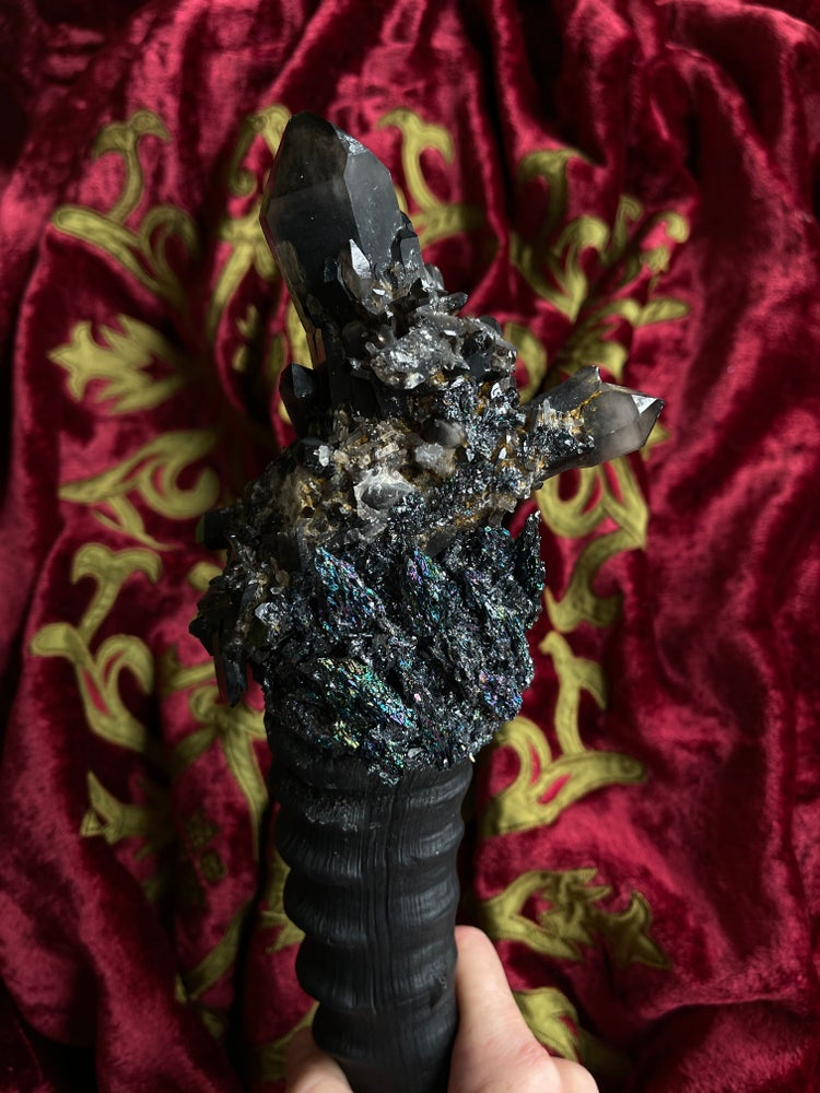 Image of Rare Black Quartz,   Scepter/ Wand - Ritual Rattler