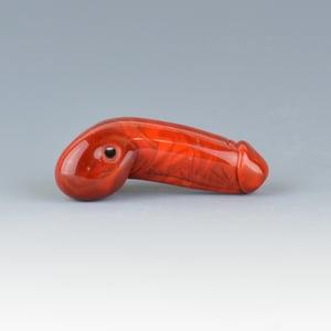 Image of Sienna Phallus Charm Bead - Flamework Glass Sculpture Bead