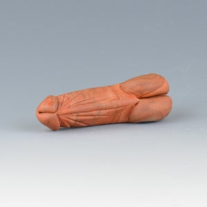 Image of Petrified Wood Phallus Charm Bead - Flamework Glass Sculpture Bead
