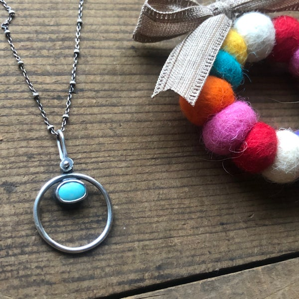 Image of Turquoise Circle Pendant (top)