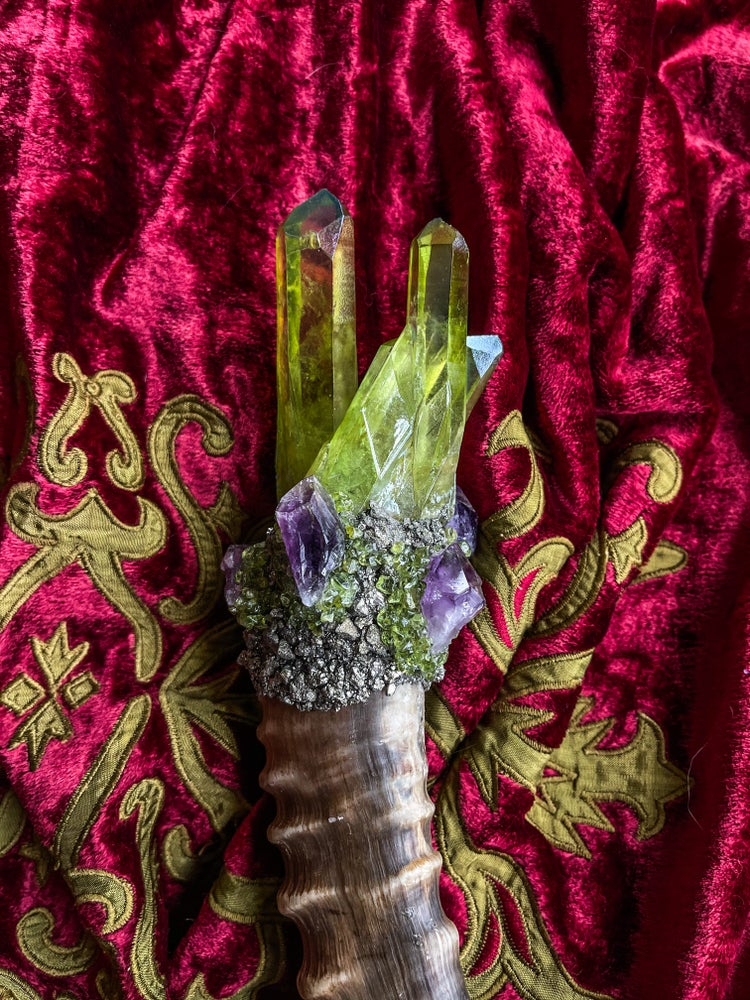 Image of Green Aura Quartz, Amethyst & Pyrite - Ritual Rattler