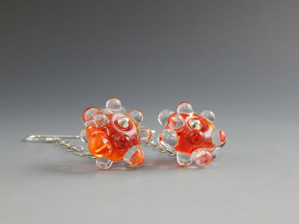 Image of Artisan Glass • Raised Dot Orange Dangles