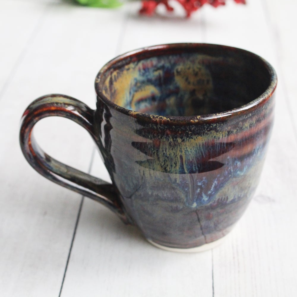 Image of Gorgeous Amber Brown, Gold and Blue Pottery Mug, Handcrafted Coffee Cup, Made in USA