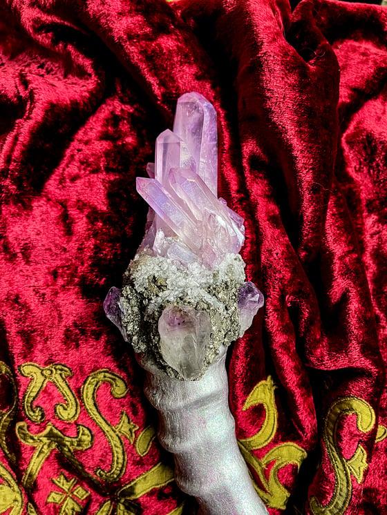 Image of Lavender Aura Quartz & Amethyst - Ritual Rattler