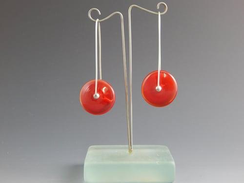 Image of Artisan Glass • Red Disk Earrings