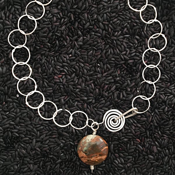 Image of Fused Silver Chain with Natural Chalcedony