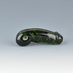 Image of Dark Streak Green Phallus Charm Bead - Flamework Glass Sculpture Bead
