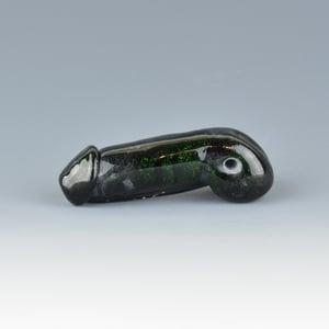 Image of Sparkly Dark Green Adventurine Phallus Charm Bead - Flamework Glass Sculpture Bead