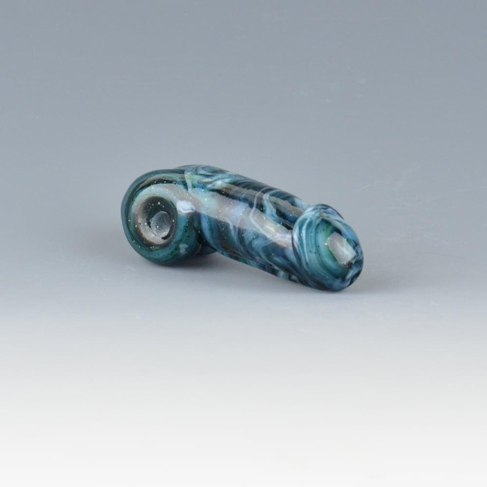Image of Streaky Blue Green Algae Phallus Charm Bead - Flamework Glass Sculpture Bead