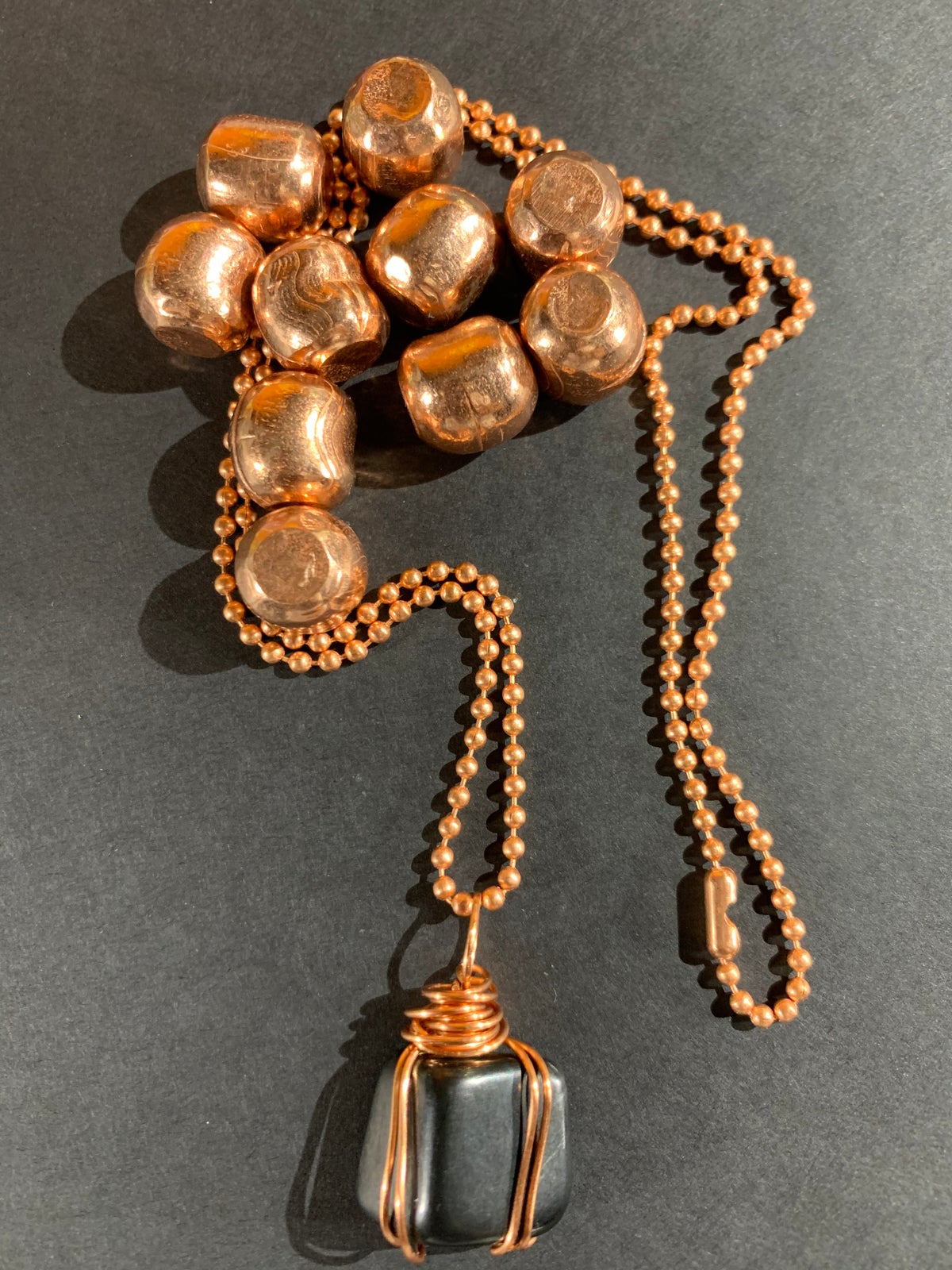 Copper Wrapped Shungite Necklace - C