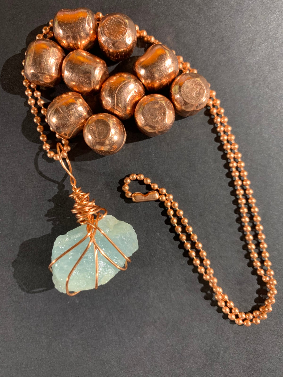 Copper Wrapped Aquamarine Necklace