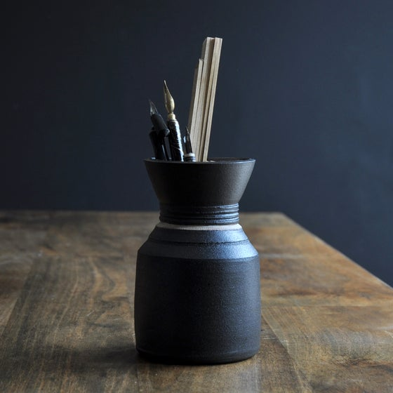 Image of Little Black Vase with White Stripe