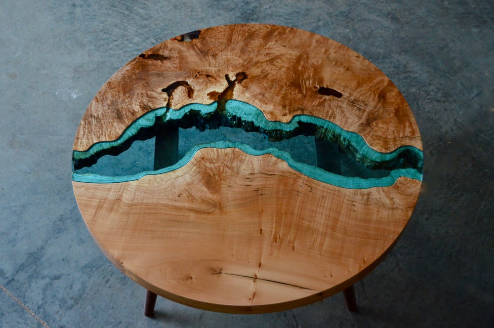 Image of round river coffee table
