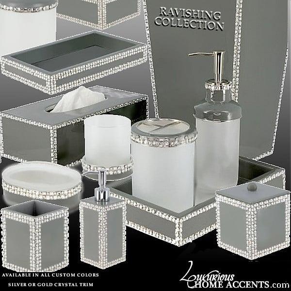 Image of Ravishing Swarovski Crystal Gold or Silver Bathroom Accessories
