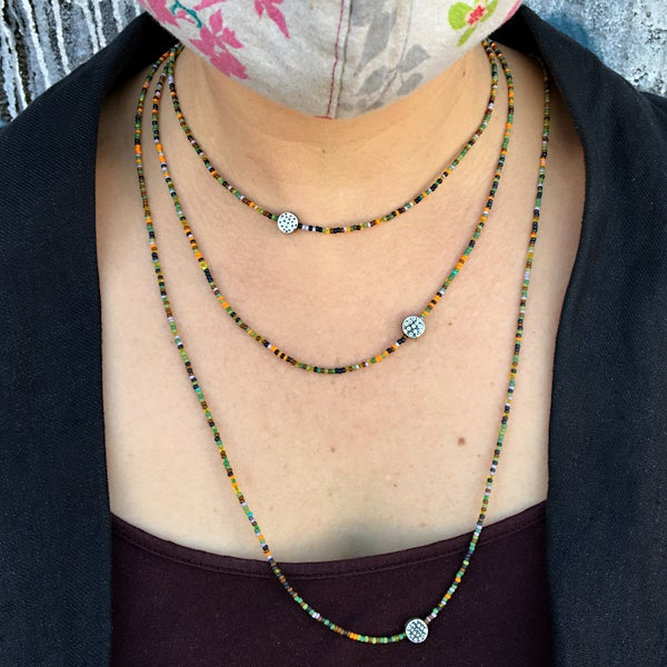 Image of Simple Seed Bead Necklaces in Forest and Retro