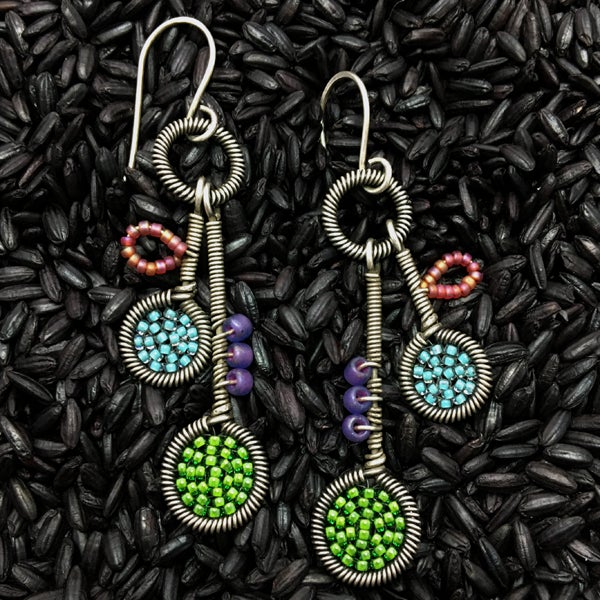 Image of Whimsy Earrings in Kelly and Turquoise