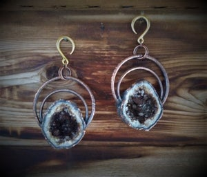 Image of Electroplated Brown Geode Ear Weights