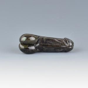 Image of Moss Agate Phallus Charm Bead - Flamework Glass Sculpture Bead